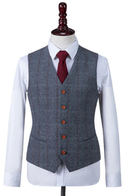 Dark Grey Overcheck Herringbone Tweed  3 Piece Suit