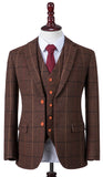 Brown Overcheck Herringbone Tweed Jacket