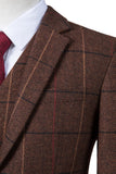 Brown Overcheck Herringbone Tweed 3 Piece