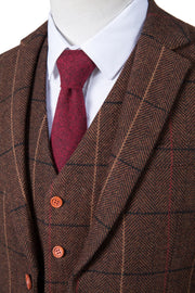 Brown Overcheck Herringbone Tweed  3 Piece Suit