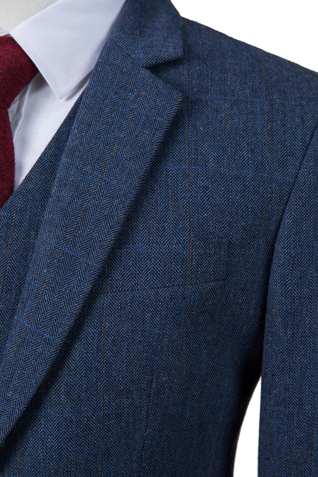 Navy Overcheck Herringbone Tweed Jacket
