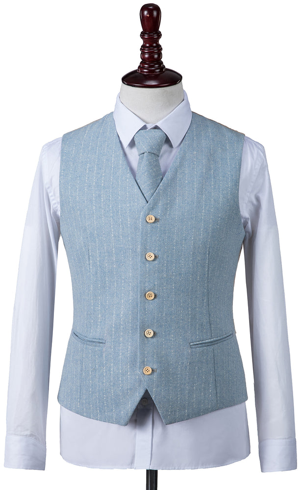 Light Blue Herringbone Stripe Tweed Waistcoat