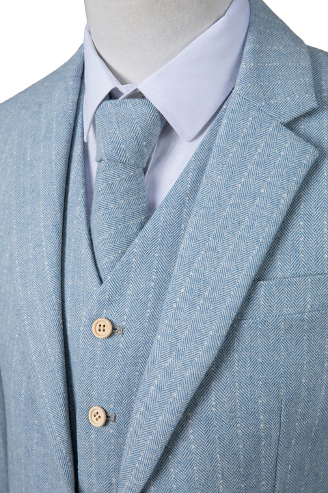 Light Blue Herringbone Stripe Tweed  3 Piece Suit