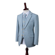 Light Blue Herringbone Stripe Tweed Jacket