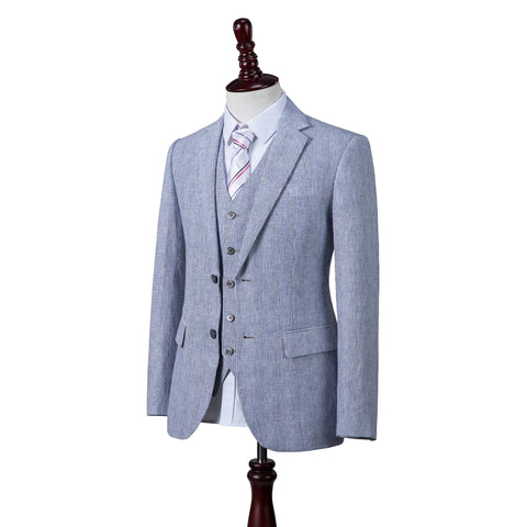 Blue Pinstripe Linen  3 Piece Suit