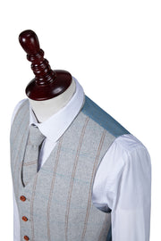 Light Grey Overcheck Herringbone Tweed Waistcoat