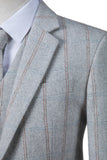 Light Grey Overcheck Herringbone Tweed Jacket