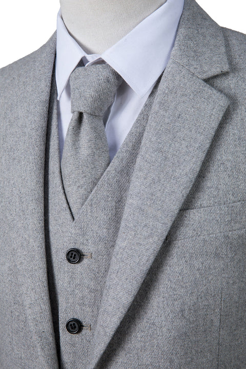 Light Grey Twill Tweed  3 Piece Suit