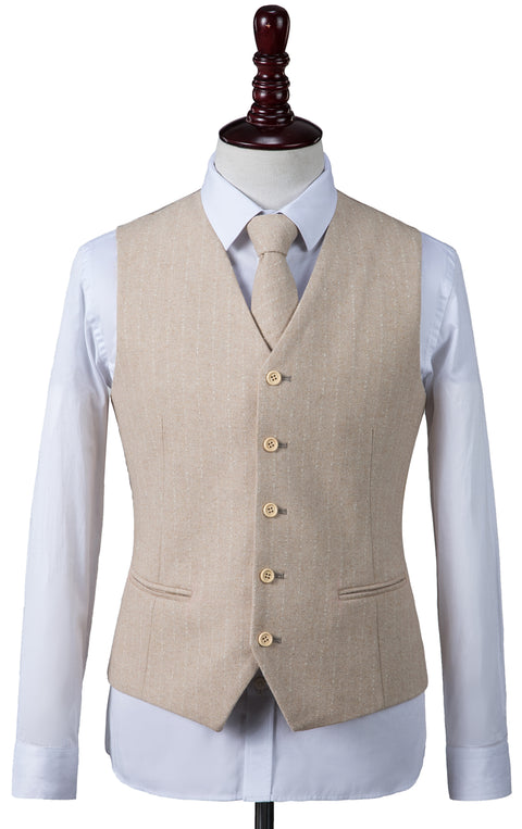 Cream Herringbone Stripe Tweed Waistcoat