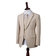 Cream Herringbone Stripe Tweed  3 Piece Suit