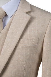 Cream Herringbone Stripe Tweed Jacket
