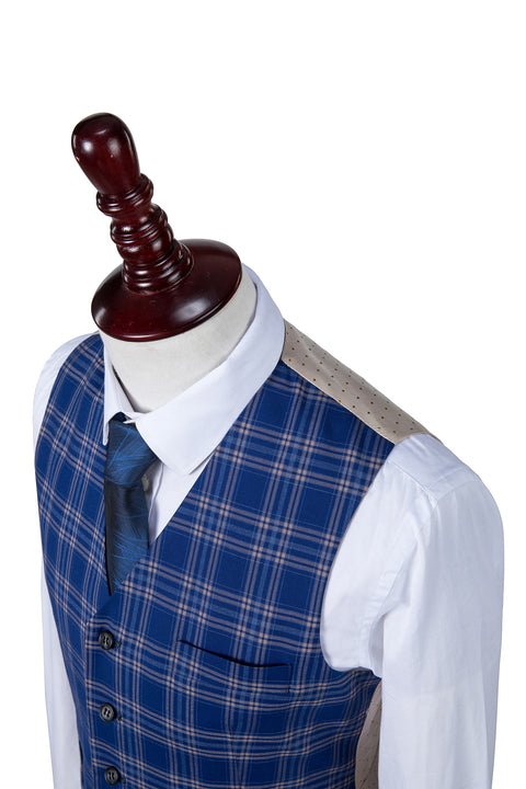 Dark Blue Windowpane Plaid Waistcoat