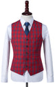 Red Windowpane Plaid Waistcoat