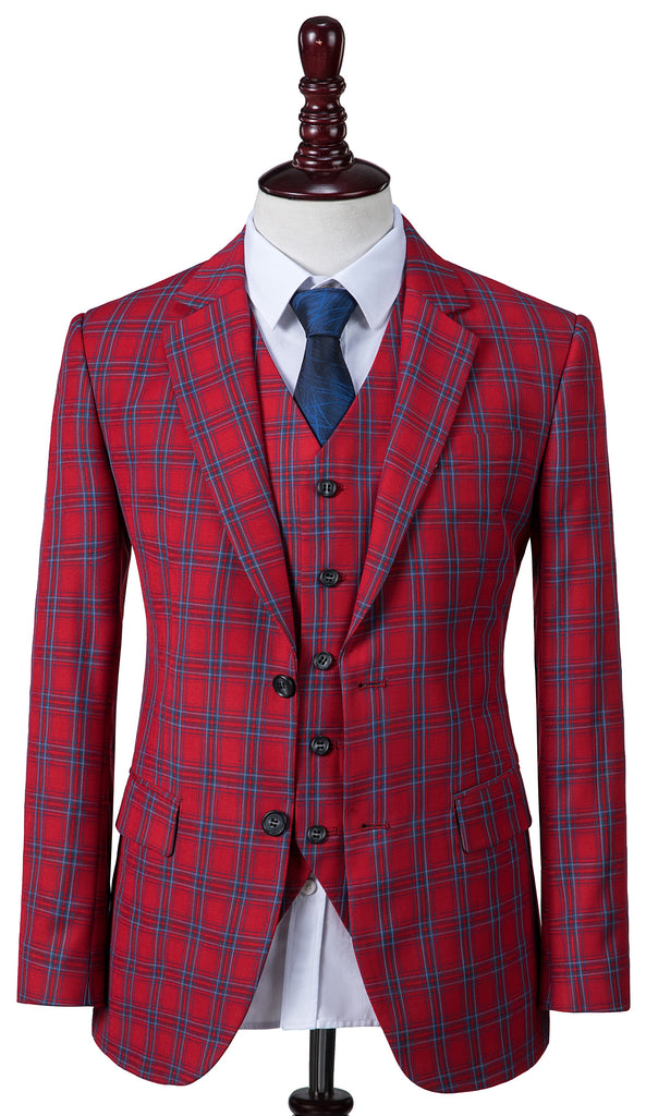 Red Windowpane Plaid 2 Piece