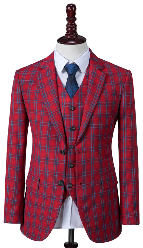 Red Windowpane Plaid  3 Piece Suit