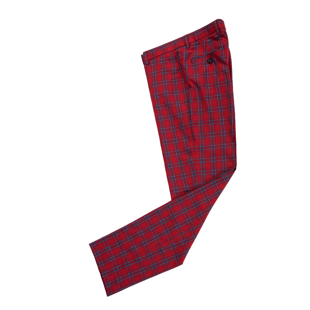 Red Windowpane Plaid Trousers