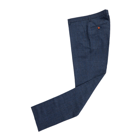 Navy Overcheck Herringbone Tweed Trousers