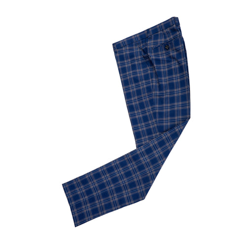 Dark Blue Windowpane Plaid Trousers