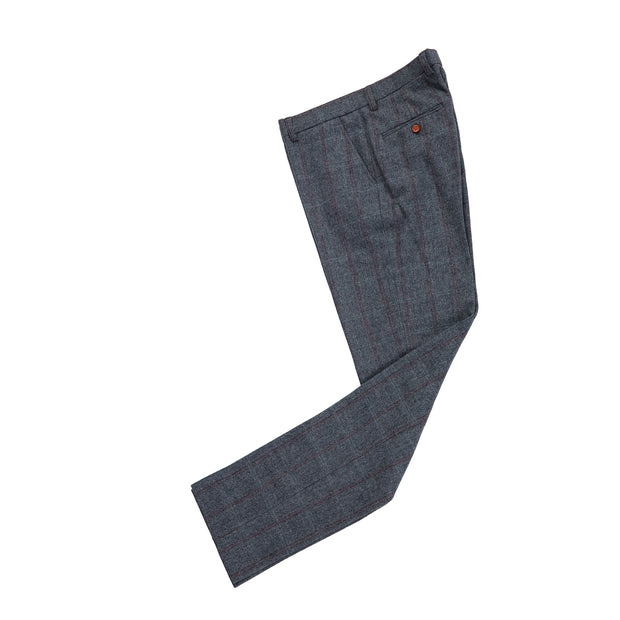 Dark Grey Overcheck Herringbone Tweed Trousers