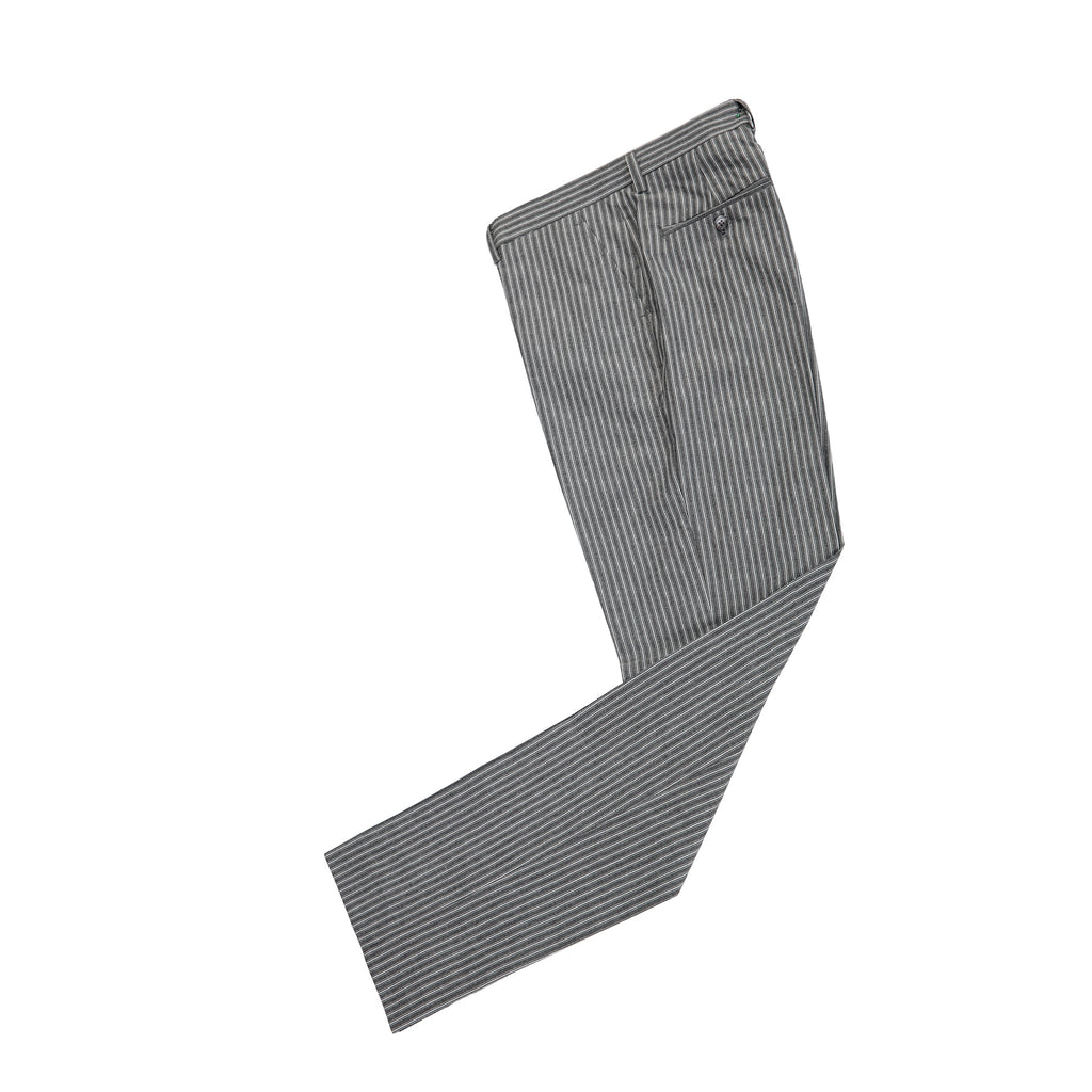 Grey Pinstripe Linen Trousers