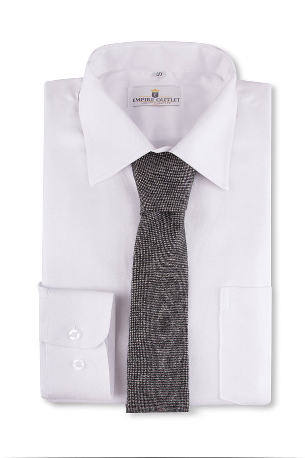 Classic Grey Barleycorn Tweed Tie on a shirt