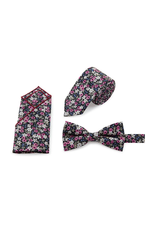 Daisy Floral Tie, Bow Tie & Pocket Square Set