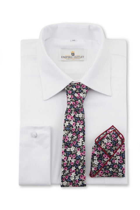 Daisy Floral Tie, Bow Tie & Pocket Square Set on a White Shirt