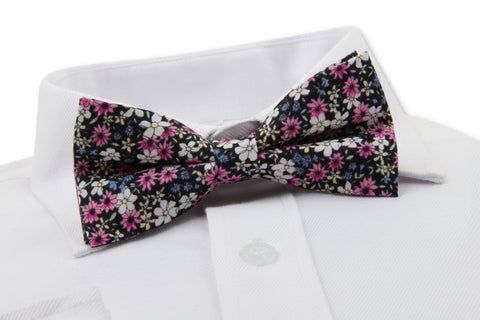 Daisy Floral Bow Tie on a Shirt