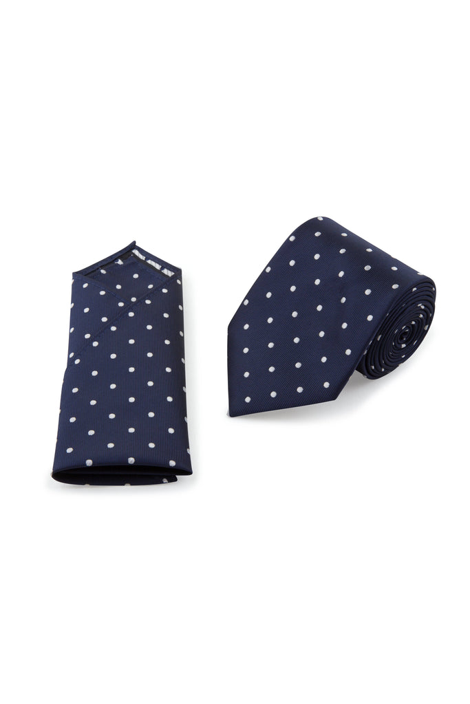 Navy White Spot Tie & Pocket Square