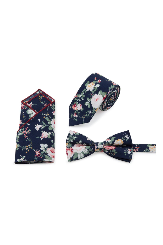 Navy Floral Tie, Bow Tie & Pocket Square Set