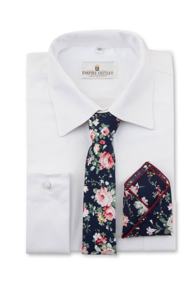 Navy Floral Tie, Bow Tie & Pocket Square Set on a white shirt
