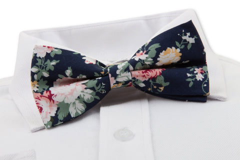 Close up of Navy Floral Bow Tie