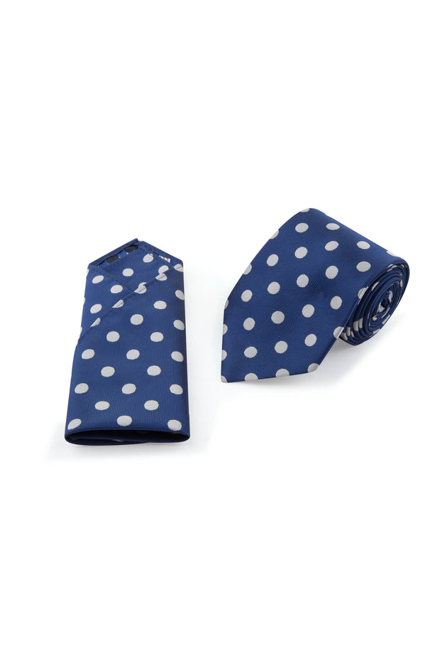 Navy Polka Dot Tie & Pocket Square