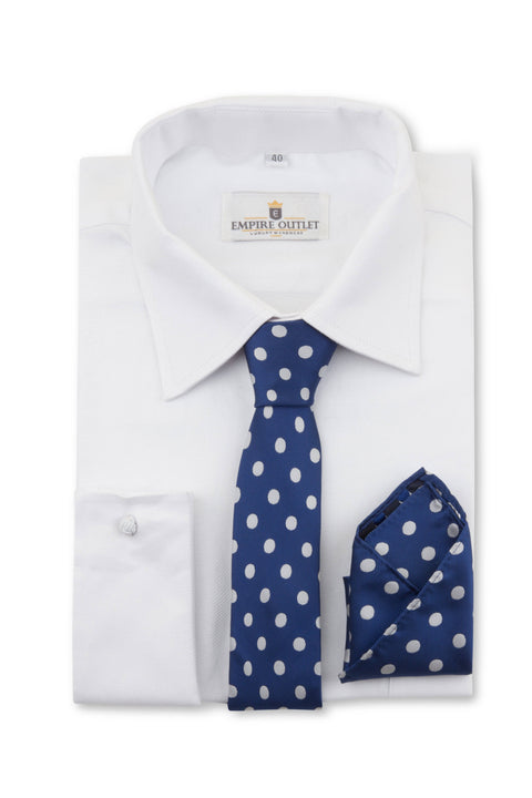 Navy Polka Dot Tie & Pocket Square on a White single cuff shirt