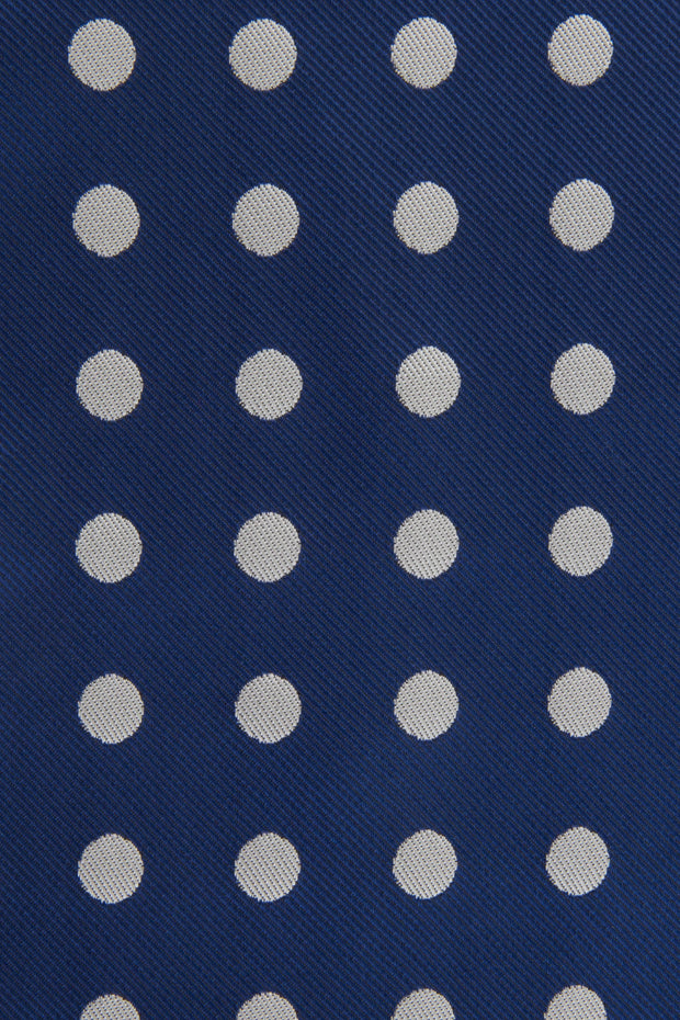 Close up of Navy Polkadot Tie