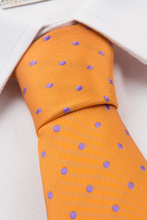 Orange Purple Spot Tie & Pocket Square