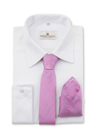 Pink Blue Spot Tie & Pocket Square