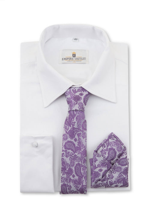 Purple Paisley Tie & Pocket Square on a shirt