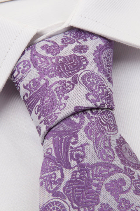 Close up of Purple Paisley Tie on a shirt