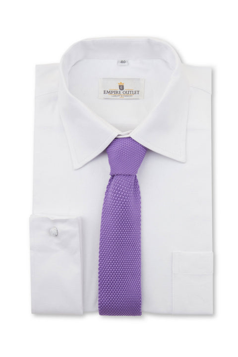 Purple Knitted Tie on a white single cuff shirt