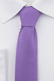 Close up of Purple Knitted Tie  on a white shirt