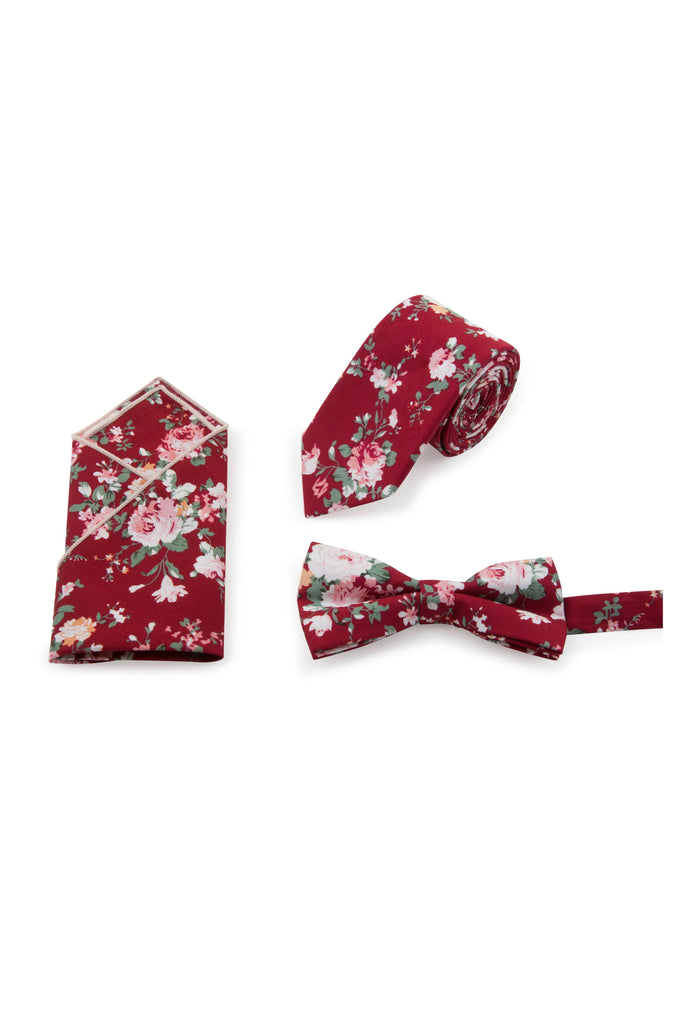Red Floral Tie, Bow Tie & Pocket Square Set