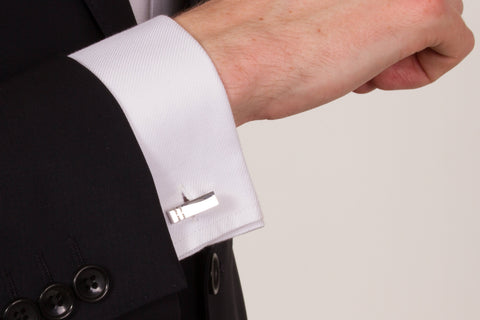 Silver Bar Cufflinks on a shirt