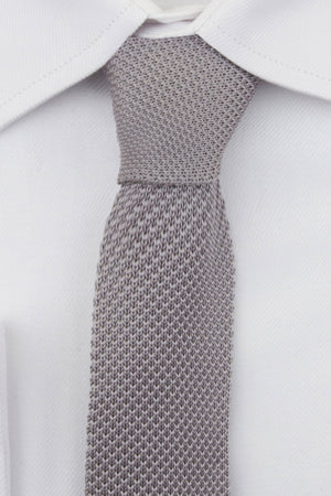 Silver Knitted Tie