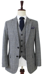 Grey Blue Prince of Wales Tweed 3 Piece
