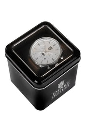 Black Leather Quartz Dress Watch - Silver