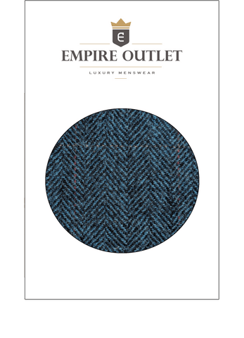 Blue Estate Herringbone Tweed Fabric Sample