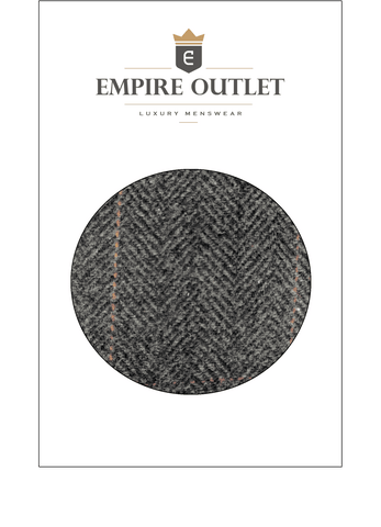 Dark Grey Estate Herringbone Tweed Fabric Sample