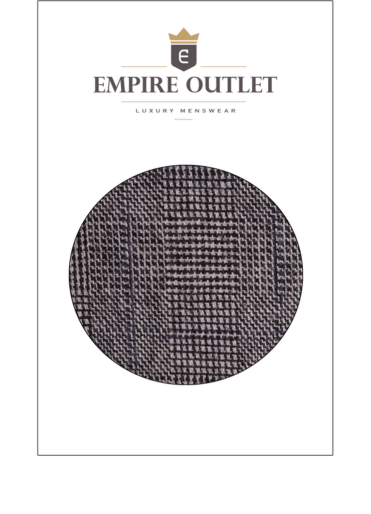 Grey Blue Prince of Wales Tweed Fabric Sample
