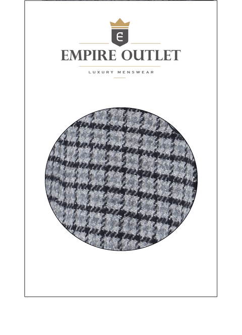 Grey Houndstooth Tweed Fabric Sample